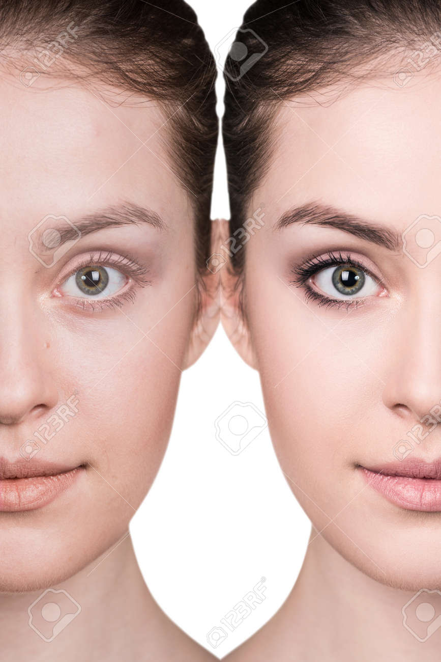 Comparative portrait of female face, without and with makeup - 64668380