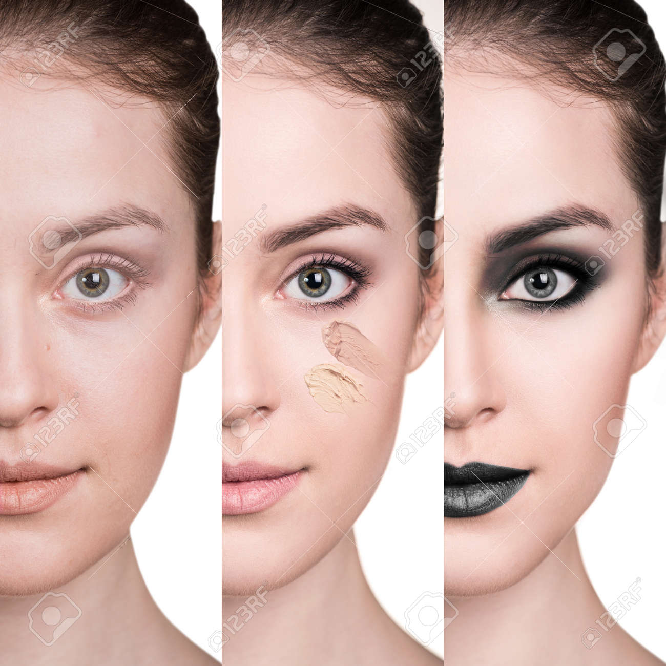 Woman before and after step by step applying make-up. - 66133665