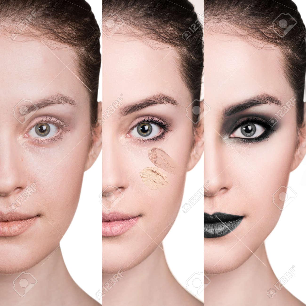 Frau Vor Und Nach Dem Schritt Für Schritt Auftragen Von Make Up