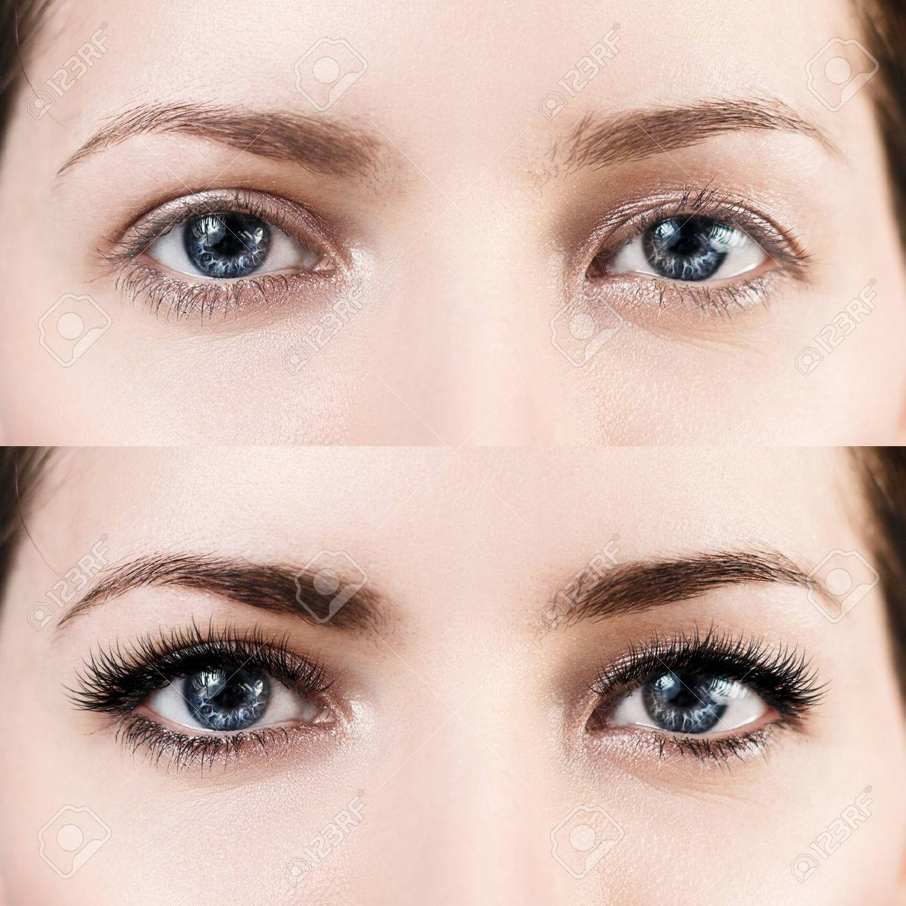 Female eyes before and after eyelash extension. - 71740691