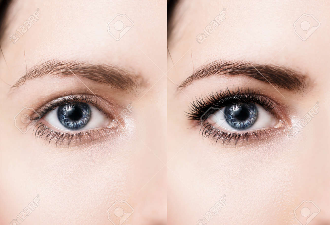 Comparison of female eyes before and after makeup and eyelash extension - 74388075
