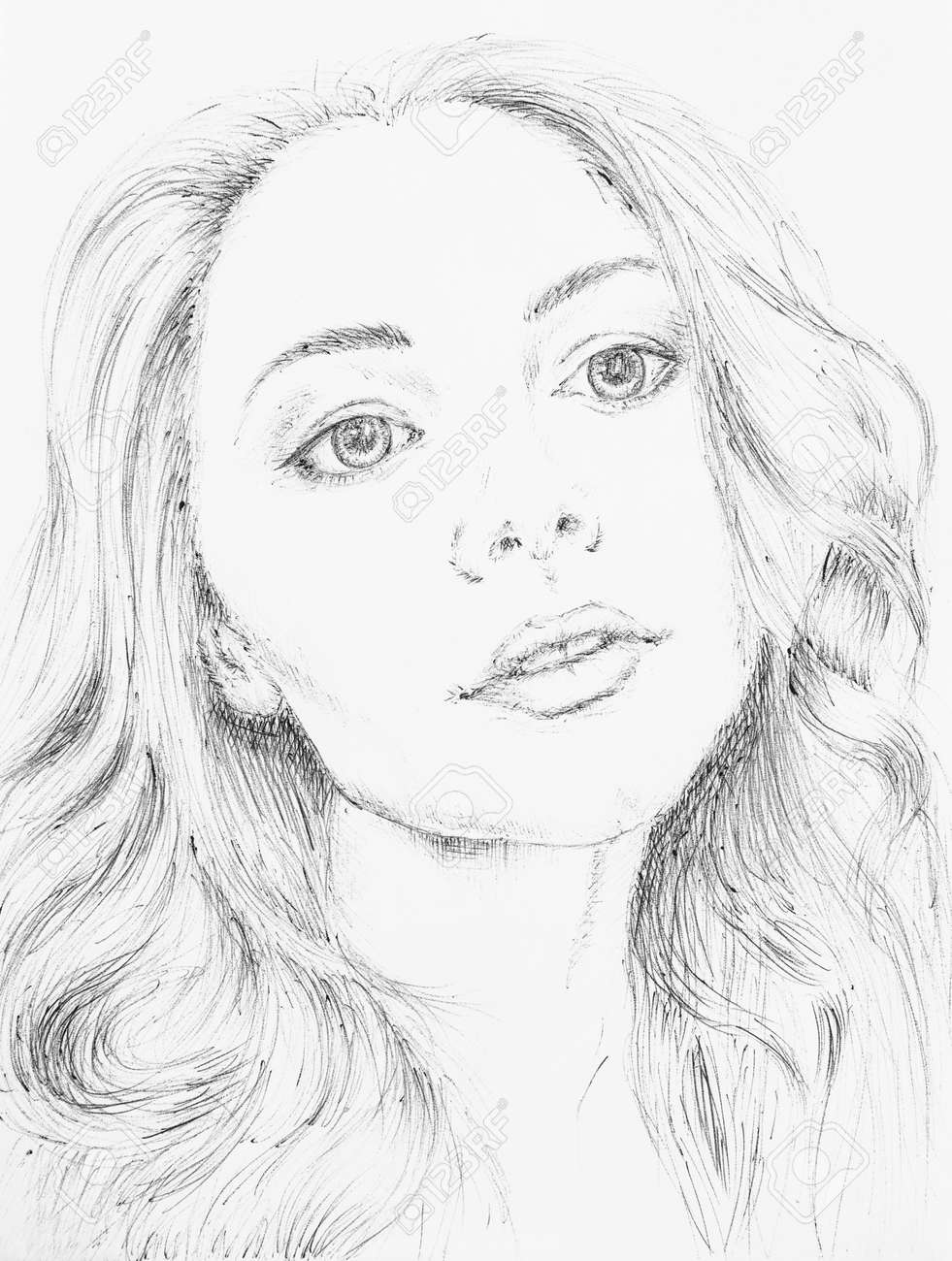 Sketch of beautiful girl in notebook stock photo 90141521