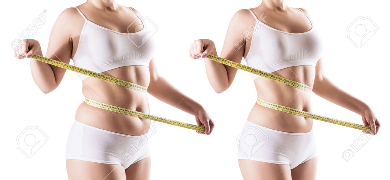 Womans body before and after weight loss. - 90574753