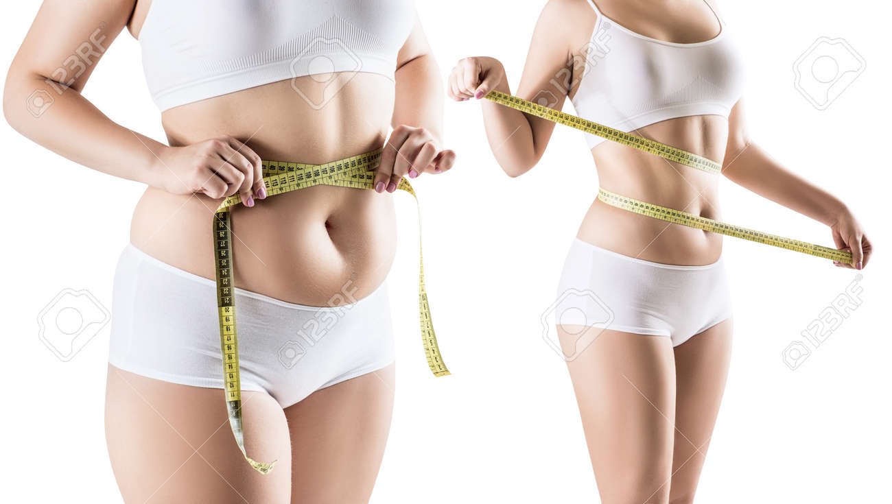 Womans body before and after weight loss. - 93199244