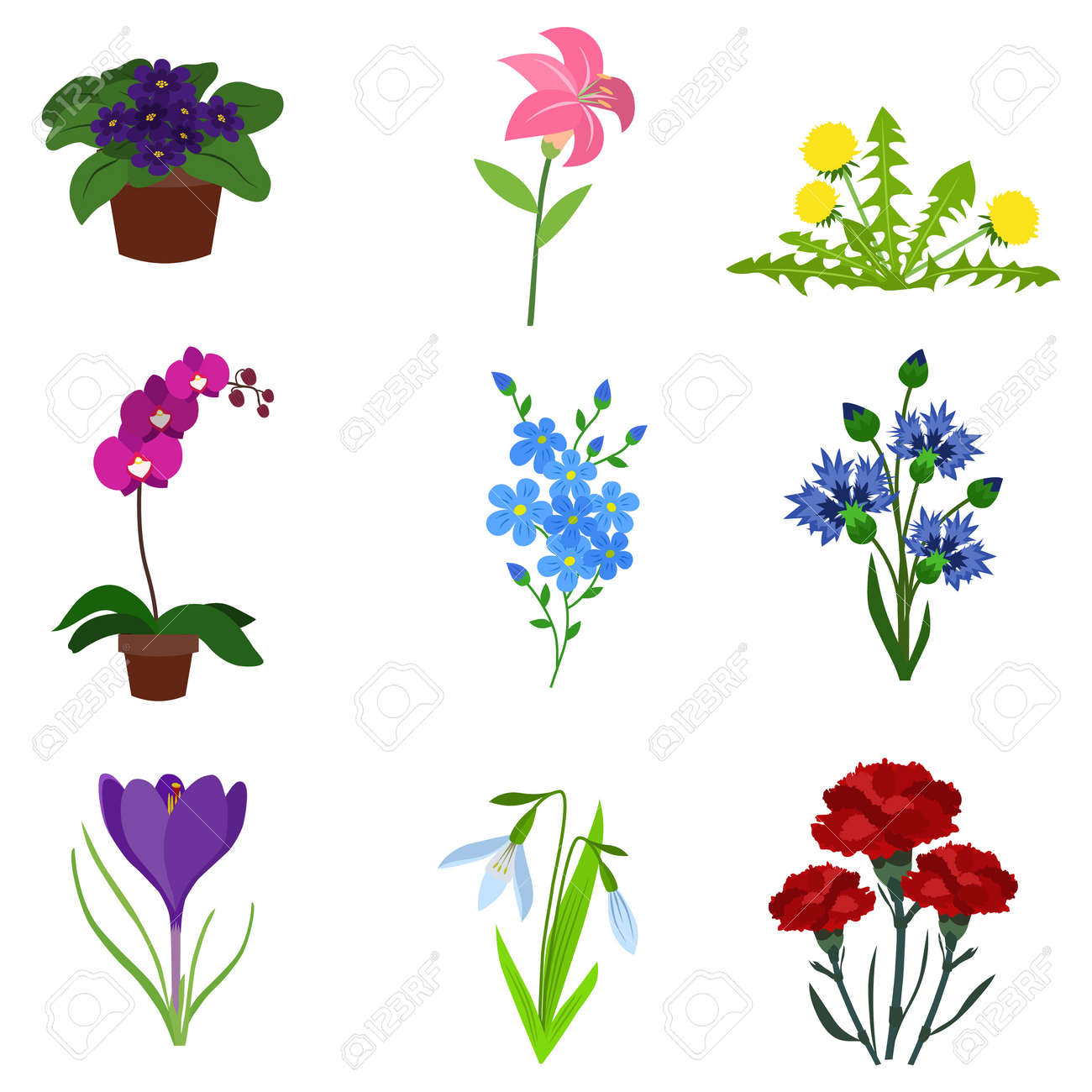 Variety Flowers Flat Icon Set Royalty Free Cliparts Vectors And