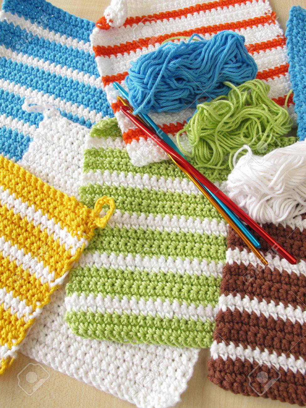 Crochet Pot Holders Stock Photo, Picture And Royalty Free Image ...
