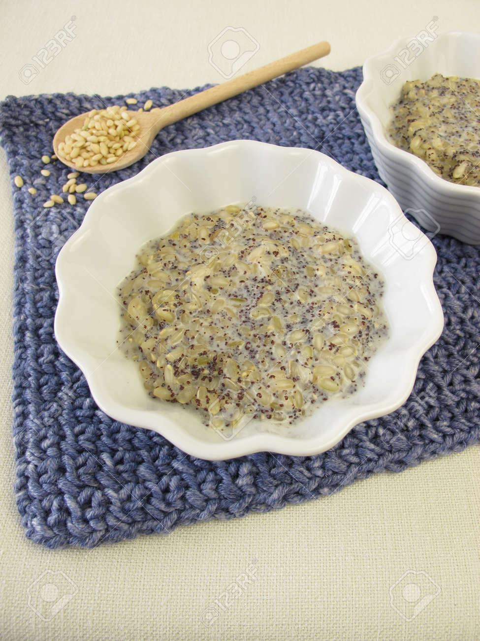 Mochi milk rice pudding with poppy seeds