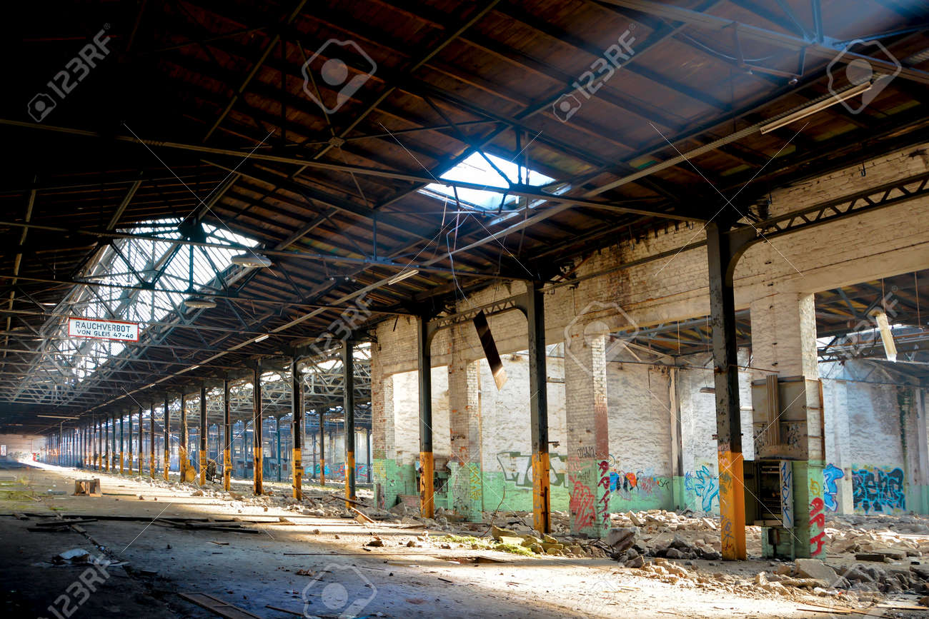 Factory Floor Of A Disused Abandoned In Magdeburg Stock Photo