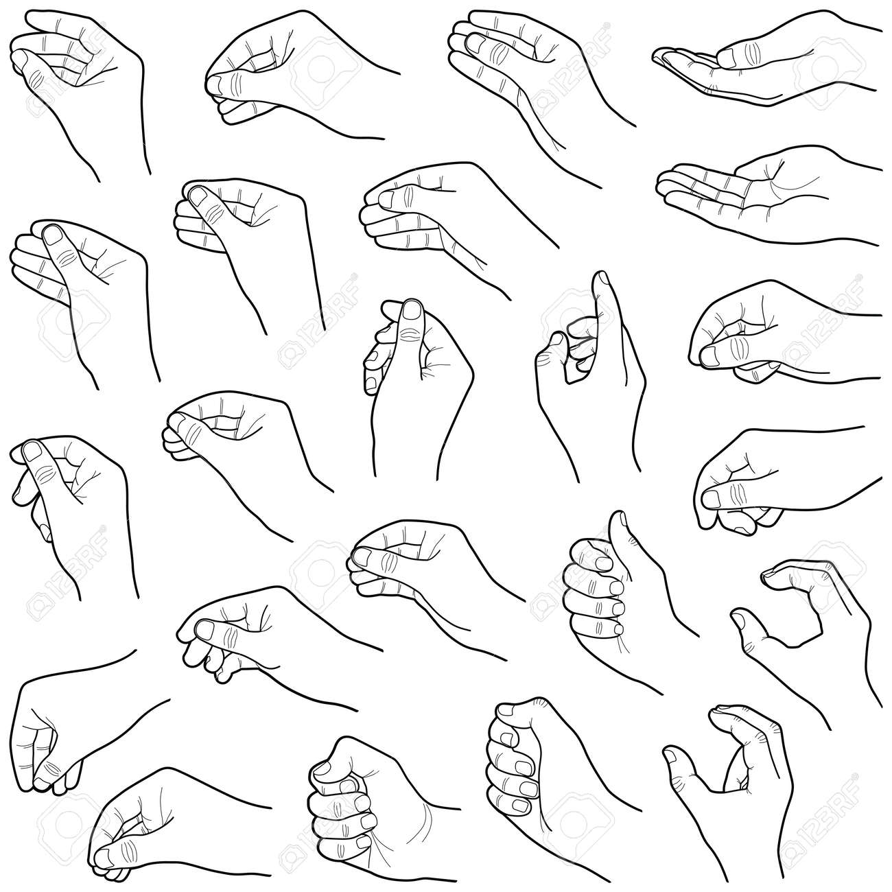 Hand collection - vector line illustration - 111362546
