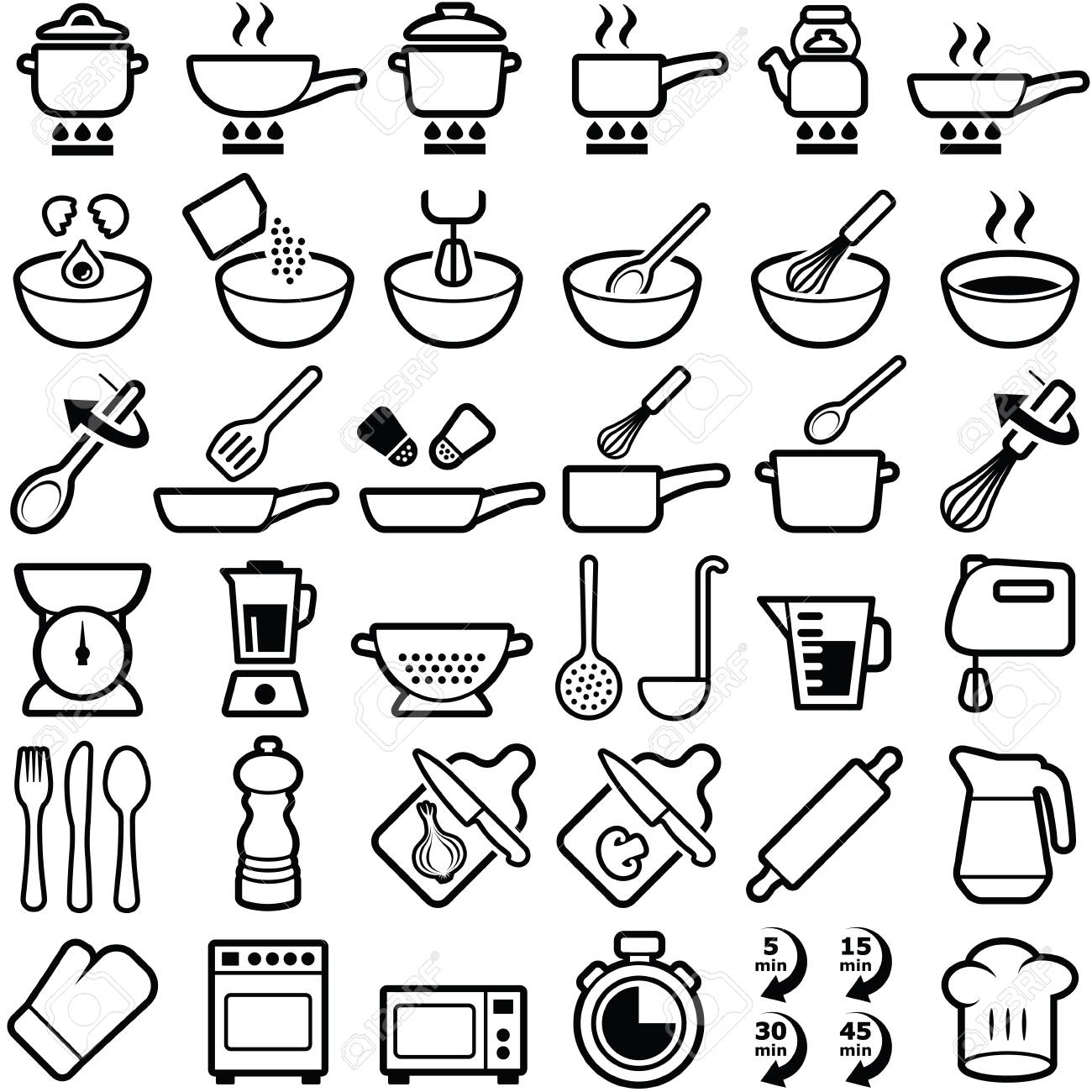 Cooking And Kitchen Icon Collection Vector Outline