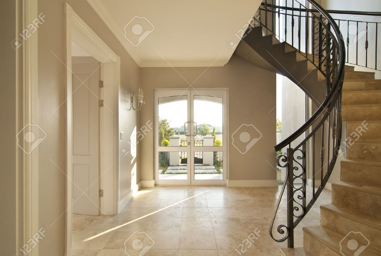 Doors wood doors 0152 01 preview jpg - Staircase And Front Door Area Of A Modern House Staircase Is Framed On The Right