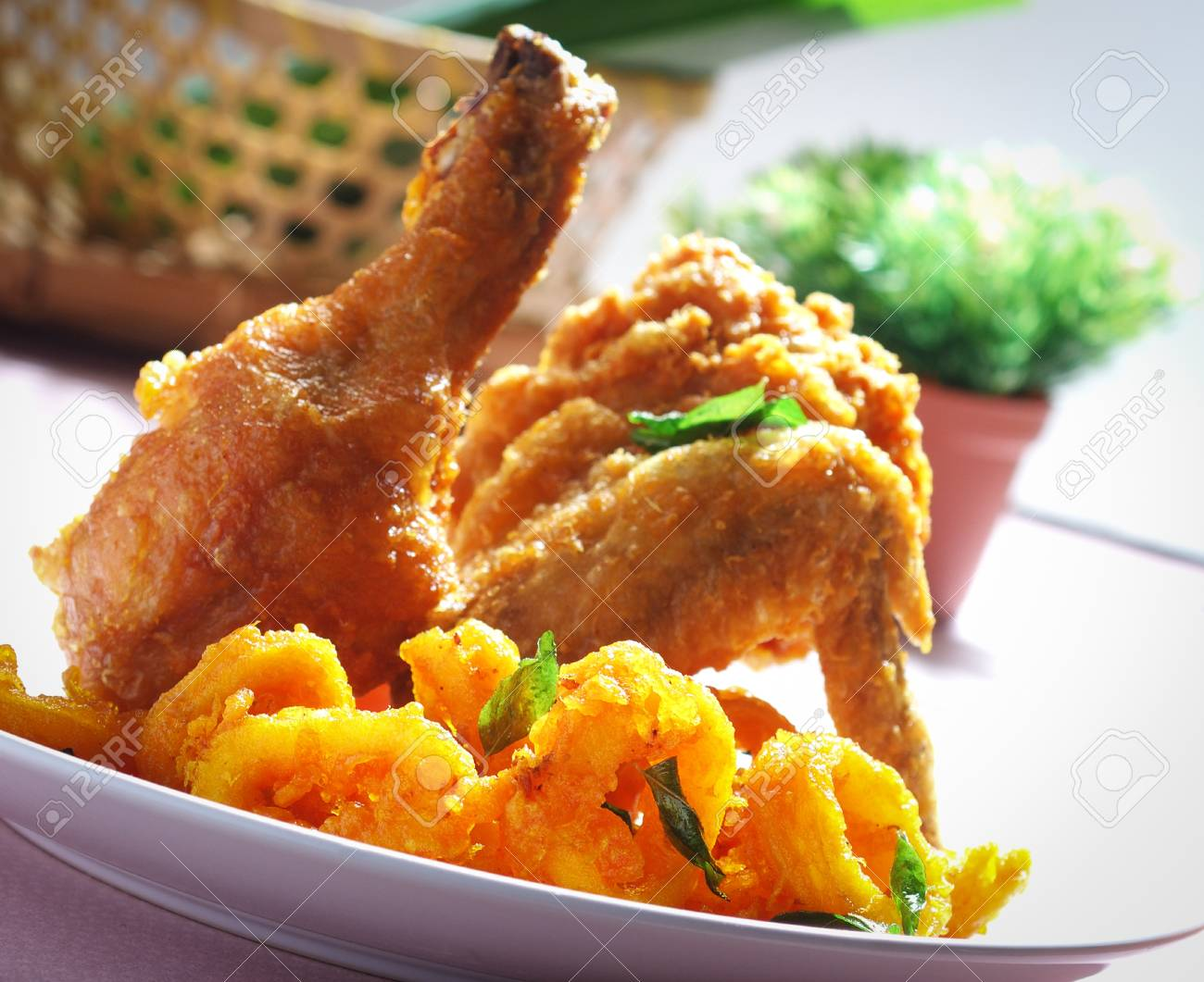 Fried Chicken and squid snack Stock Photo - 12648566