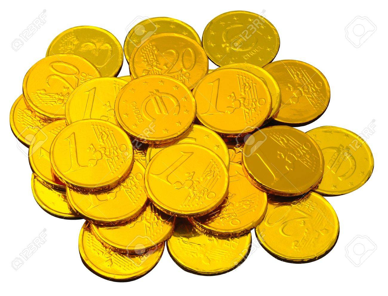 Chocolate Coins Wrapped In Shiny Golden Tinfoil Stock Photo ...