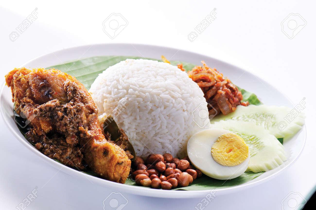 Nasi lemak traditional malaysian spicy rice dish Stock Photo - 13202625