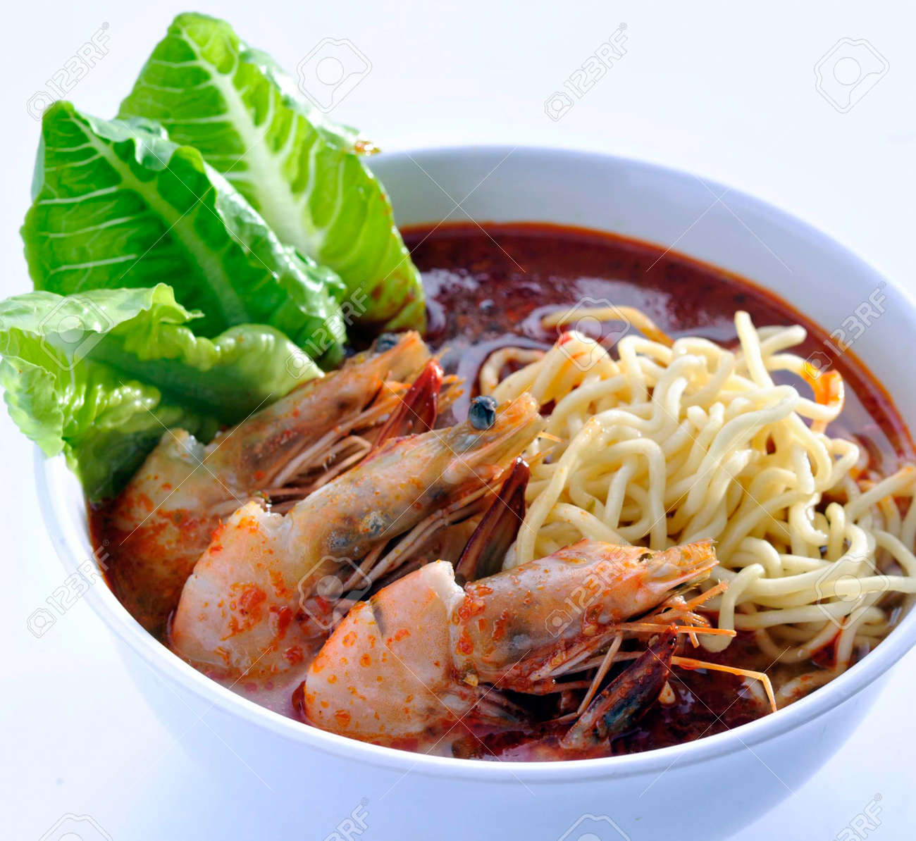 Prawn noodle - Malaysian food spicy noodles Stock Photo - 13202452