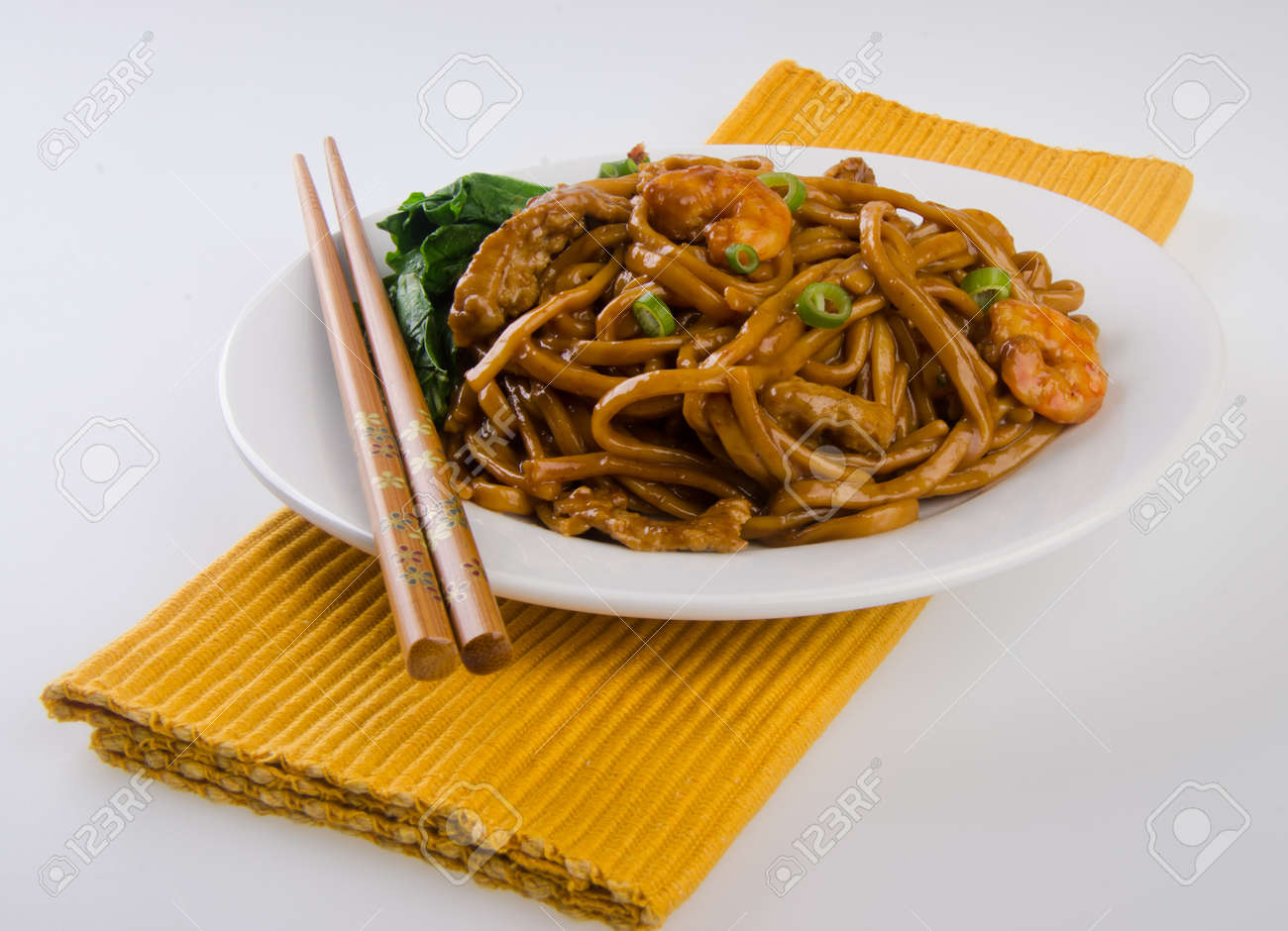 noodles  stir-fried noodles with chicken Stock Photo - 13484018