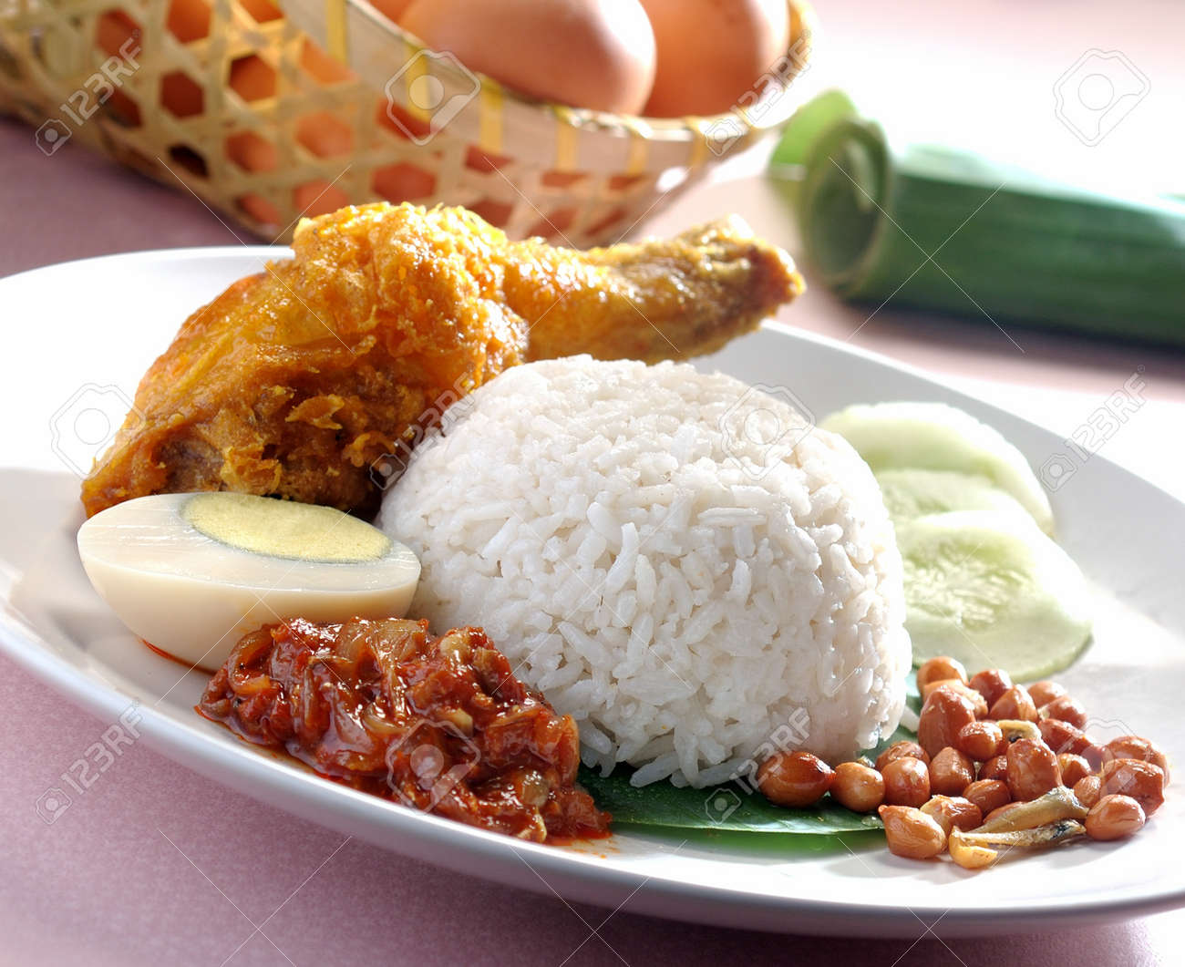 Nasi lemak traditional malaysian spicy rice dish Stock Photo - 14756329