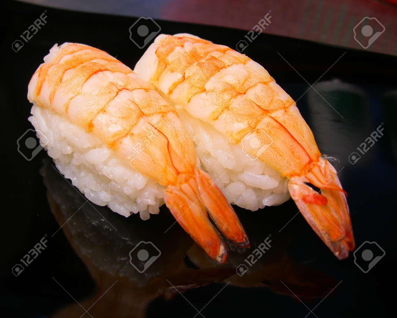 Sushi Shrimp Raw Shrimp Sushi On Background Stock Photo Picture