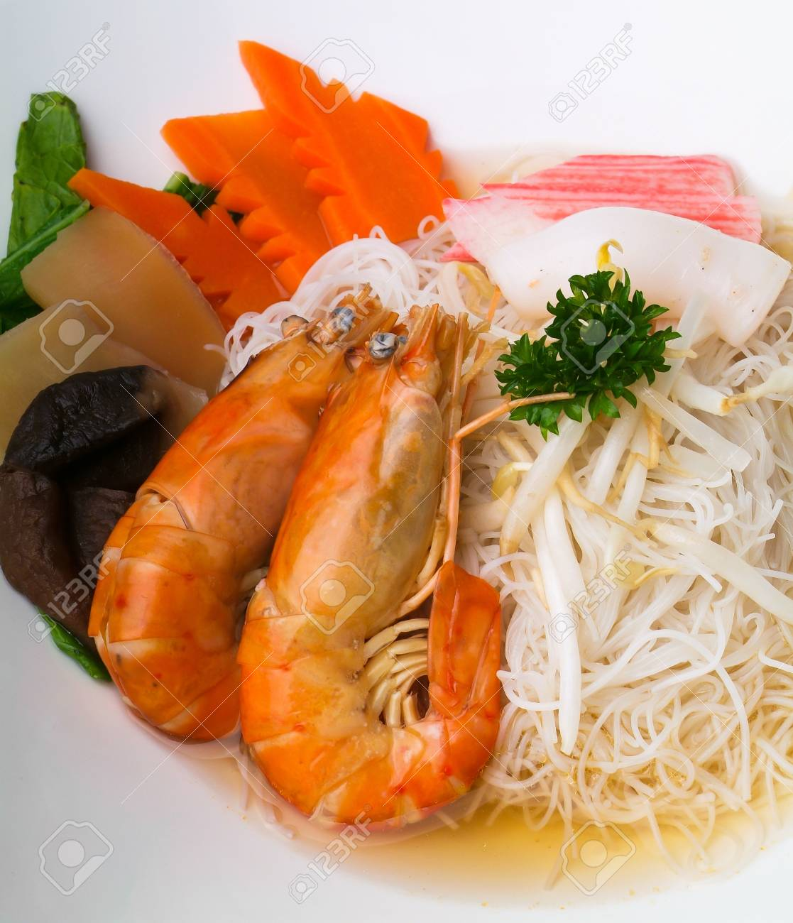 Prawn noodle - Malaysian food spicy noodles. Stock Photo - 14911212