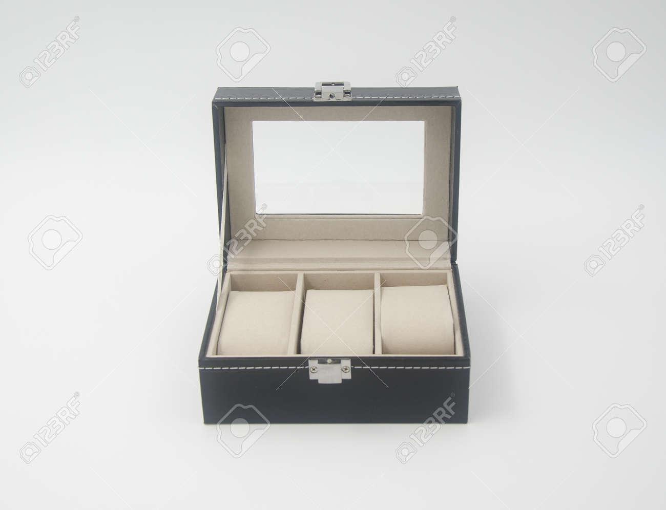 Jewelry Box Or Black Leather Jewelery Box On Background