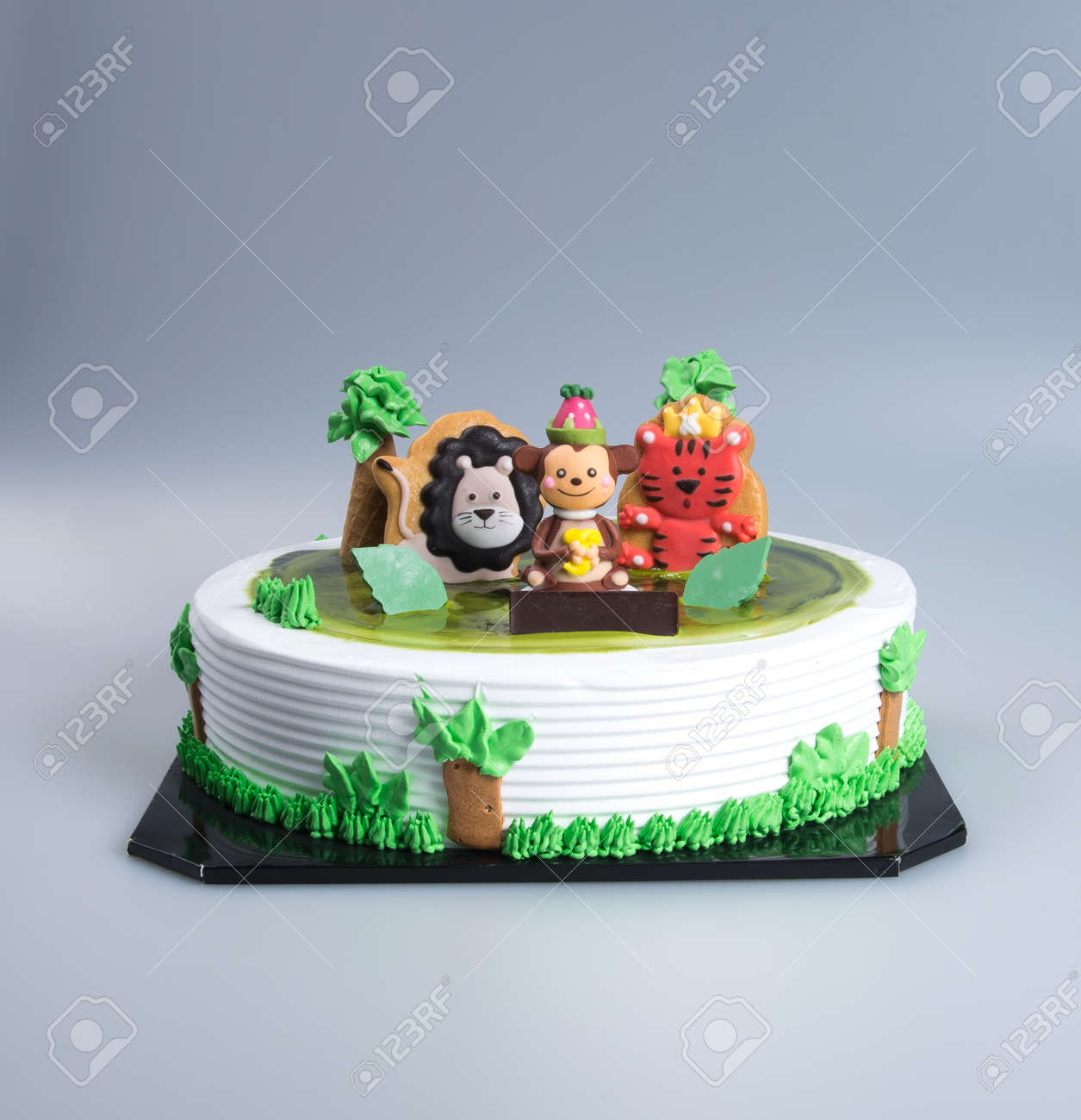 Tremendous Cake Or Creative Animals Themed Cake On A Background Stock Photo Birthday Cards Printable Trancafe Filternl