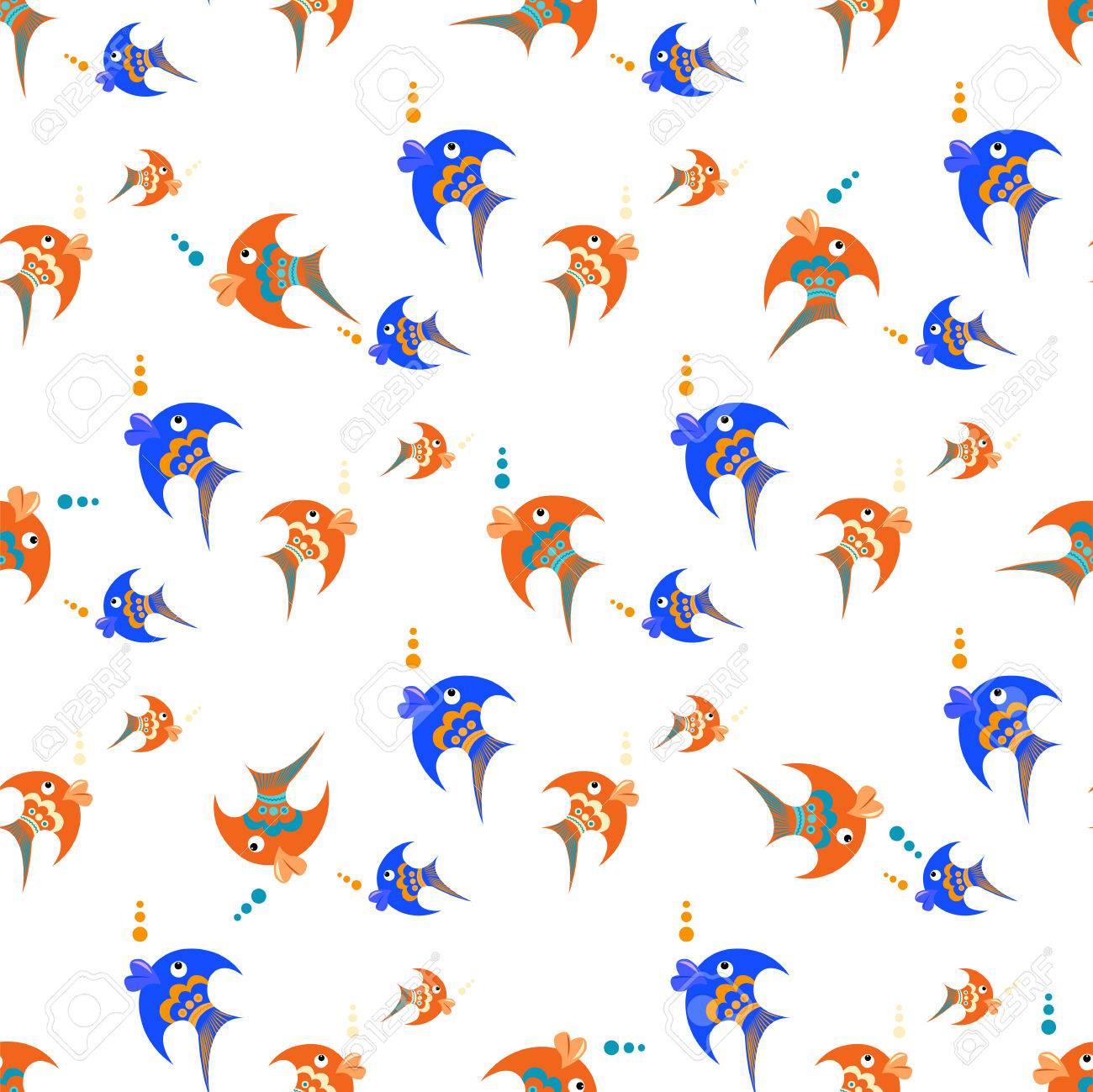 Vettoriale Pesce Blu E Arancione Su Uno Sfondo Bianco Modello