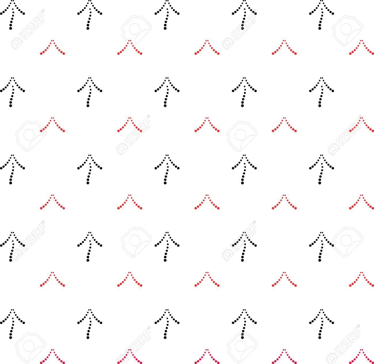 Black and red arrows point upwards. Seamless geometric pattern - 82693911