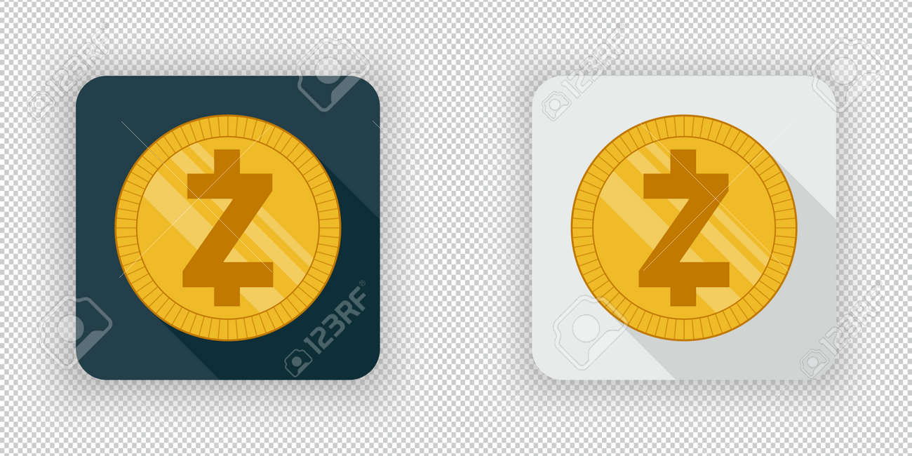 Light And Dark Crypto Currency Icon Zcash On A Transparent Background Stock Vector