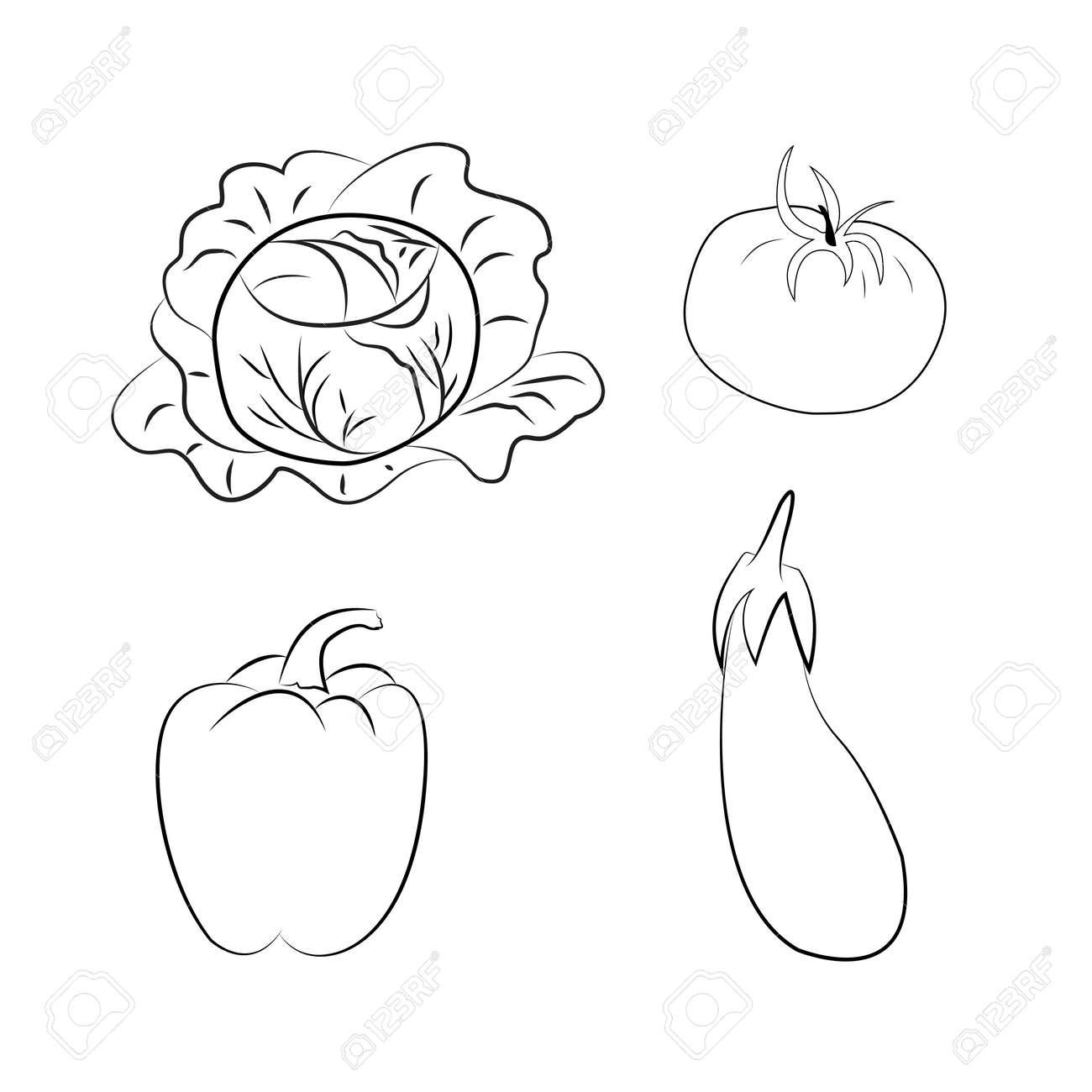 Set Of Vegetables Art Outlines Full Page 29 Original Hand Drawn