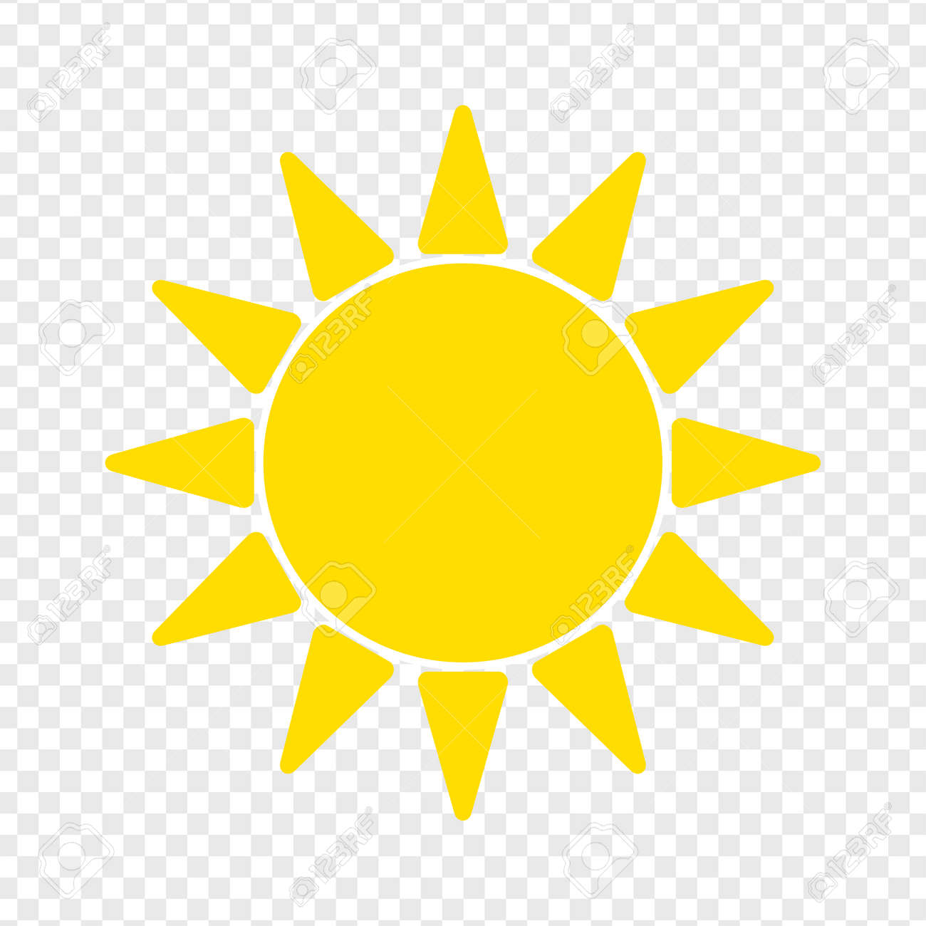 Flat sun Icon  Summer pictogram on transparent background  Sunlight
