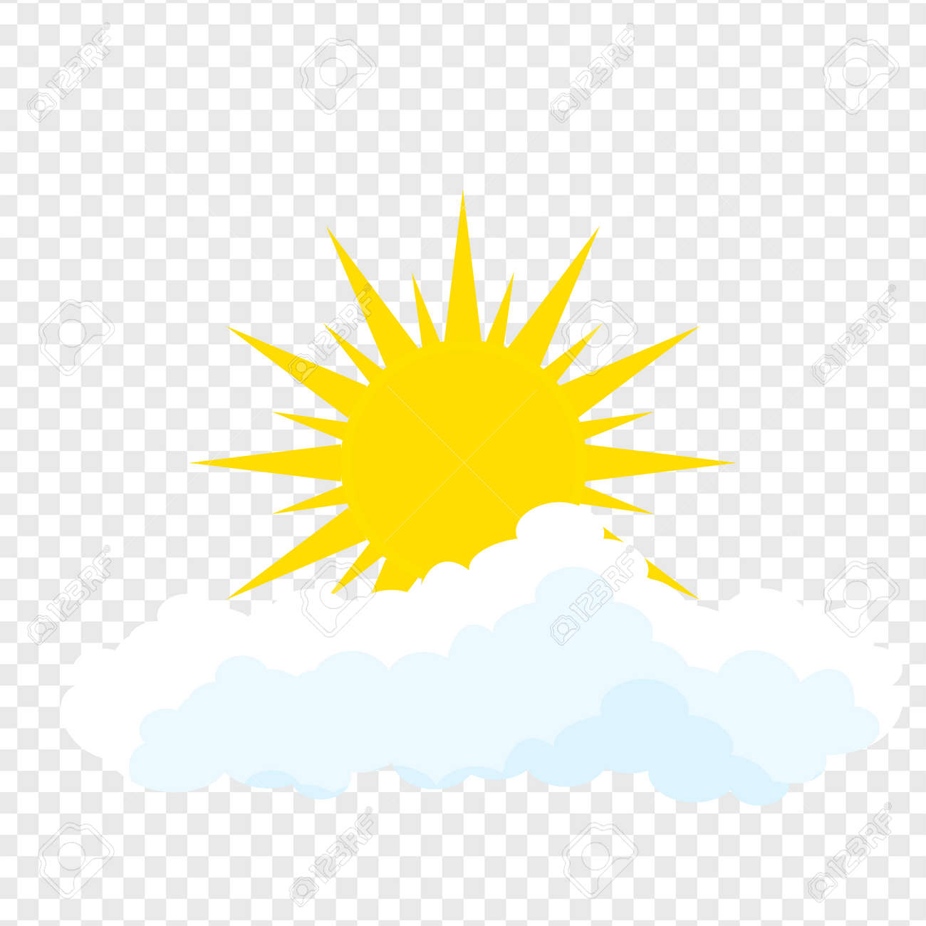 Flat sun and cloud Icon  Summer pictogram on transparent background