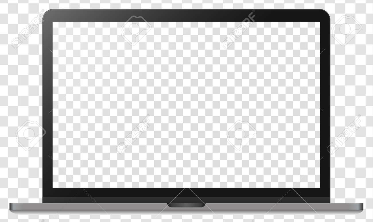 Realistic modern silver metal notebook isolated on transparent background. Digital display mockup template. Vector illustration - 128805049