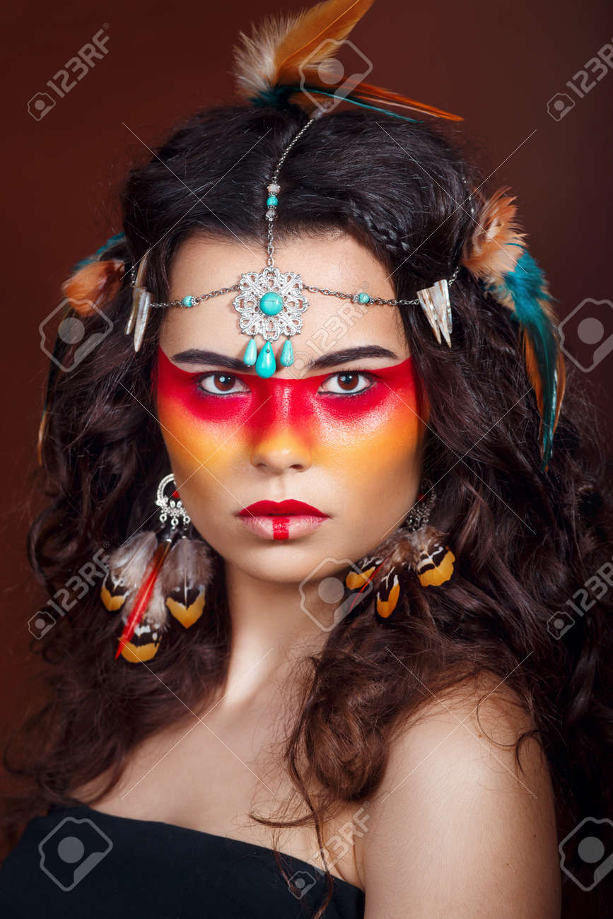 Beautiful Squaw In Ethnic Jewelry Close Up Portrait Native
