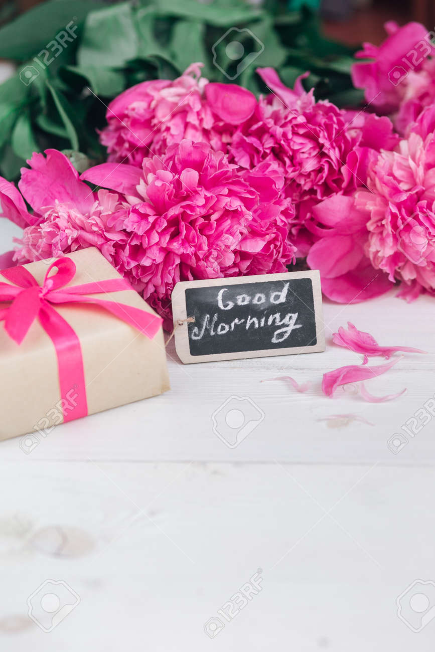 Pink Peony Flowers,gift Box And Notes Good Morning On White Rustic ...