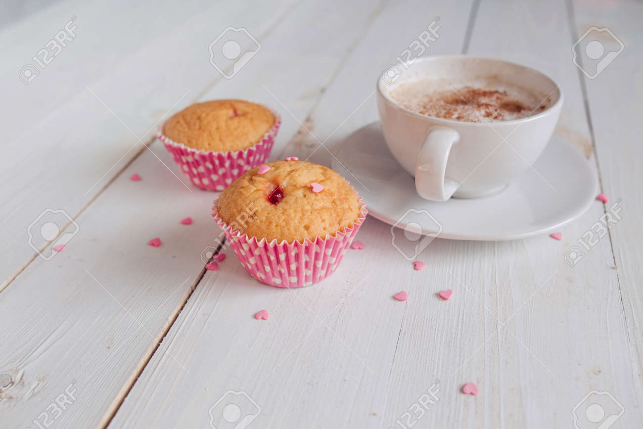 Coffee Mug With Cake And Notes Good Morning On White Rustic Table Stock Photo Picture And Royalty Free Image Image 85730155