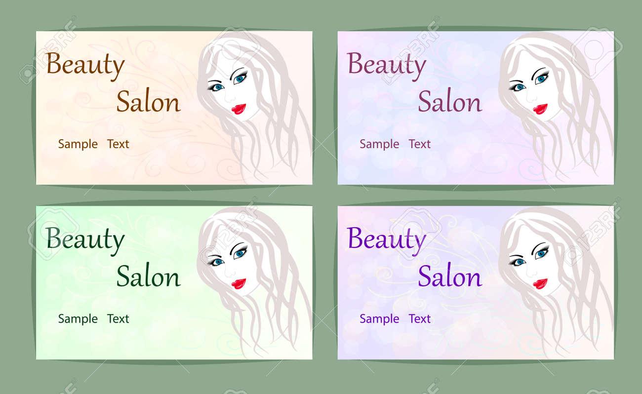Carte De Visite Logo Abstrait Pour Un Portrait Salon Beaute Dune Fille Illustration Vectorielle