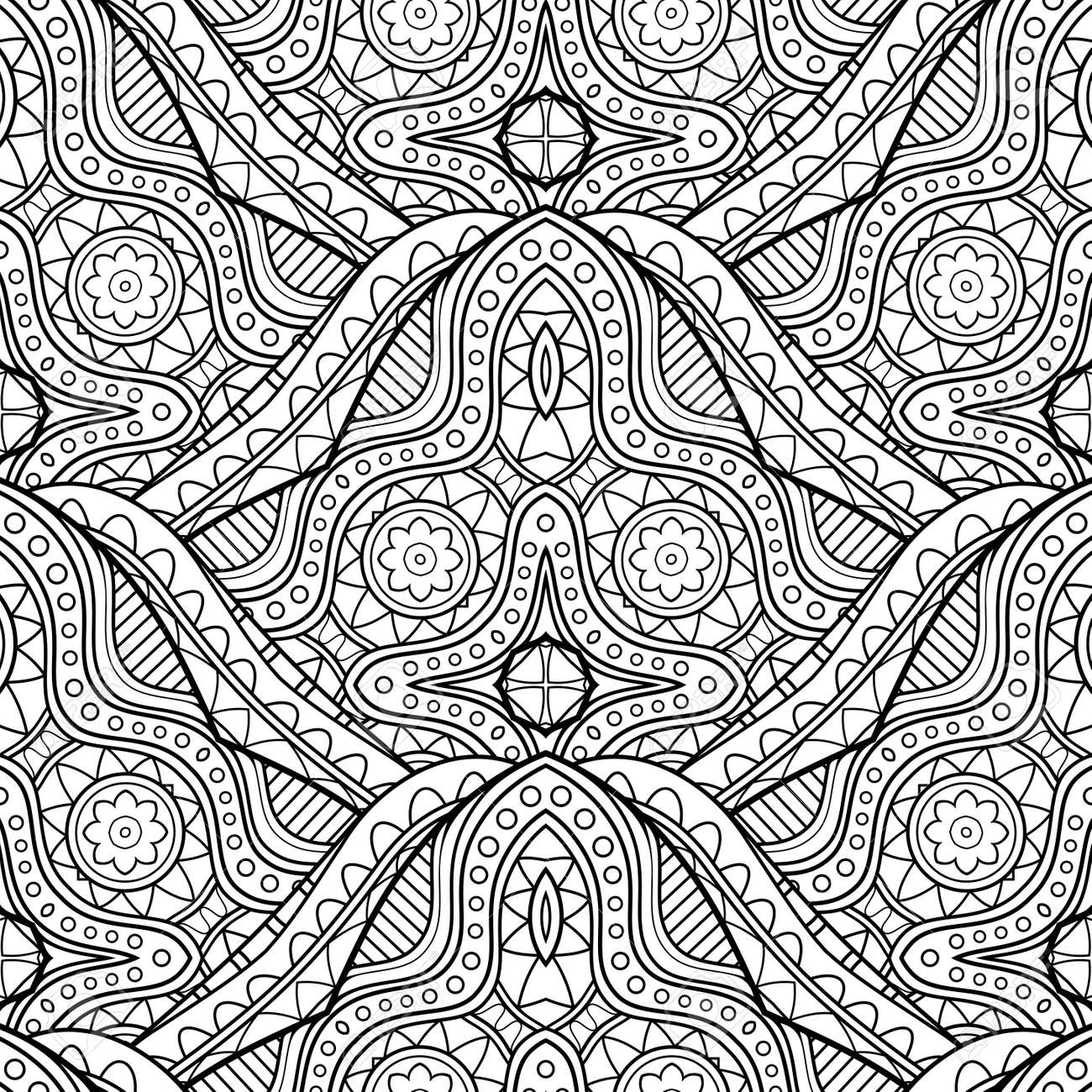 Printable Coloring Page | Vector Seamless Monochrome Pattern Printable Coloring Pages Hand