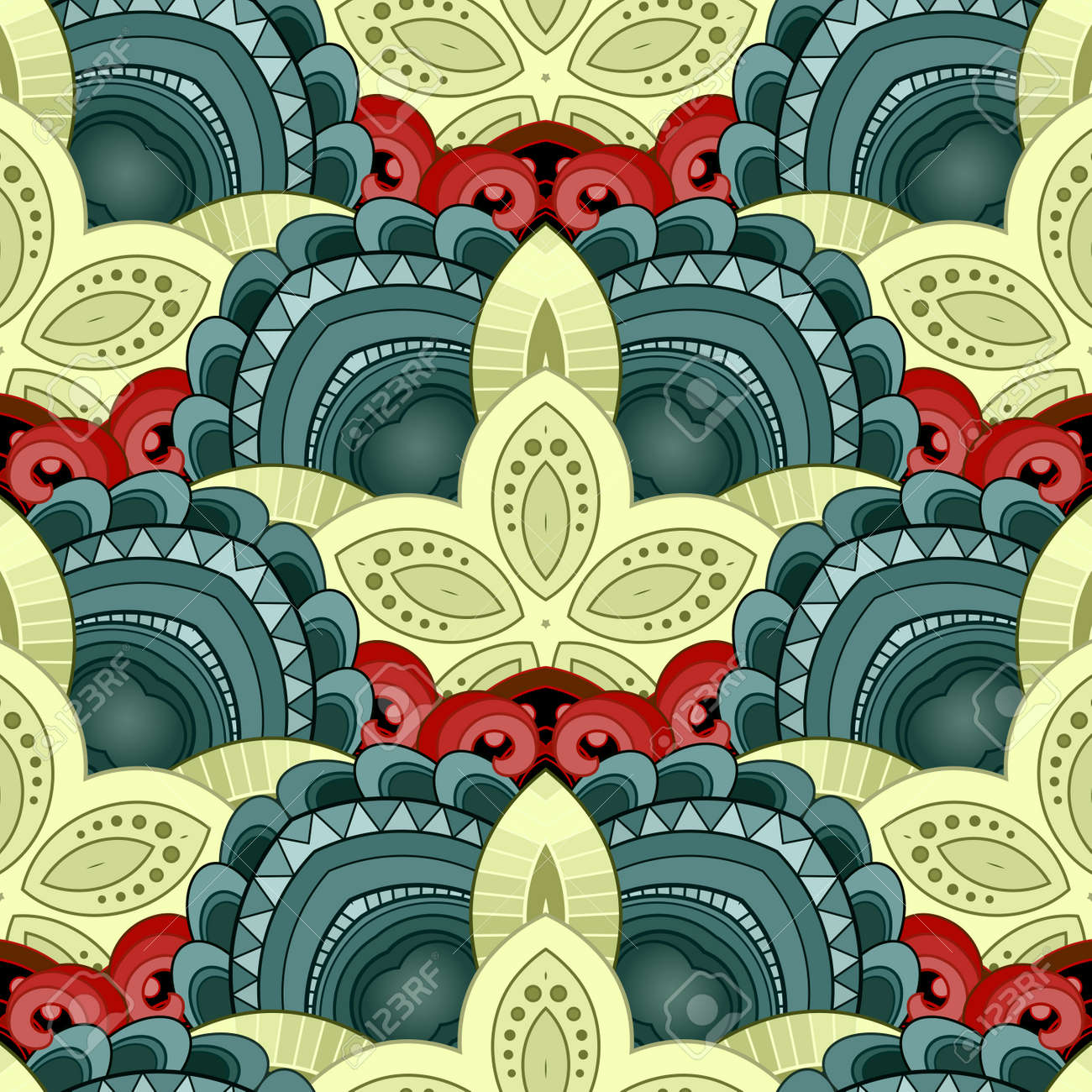 Vector Seamless Pattern In Color For Your Design. Printable Coloring ...