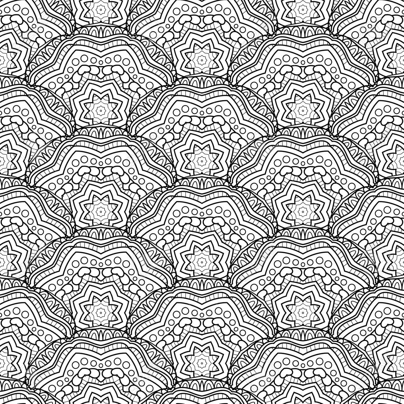graphic regarding Scales Printable titled Vector Seamless Monochrome Behavior. Printable Coloring Webpages