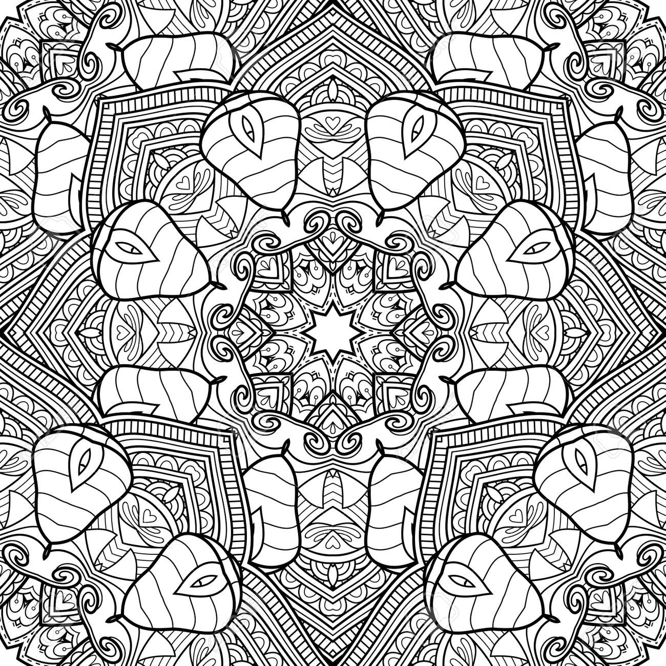 - Vector Seamless Monochrome Pattern. Printable Coloring Pages. Hand
