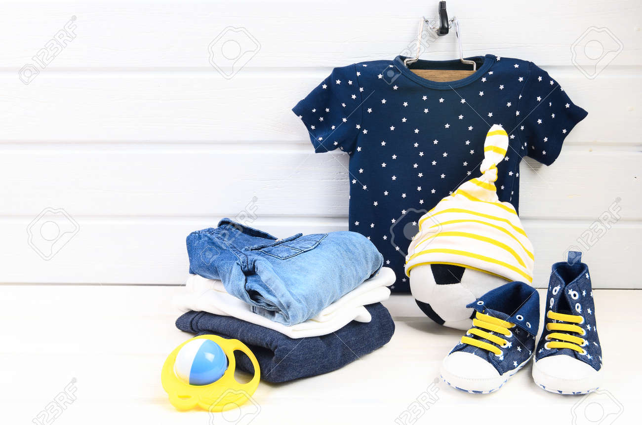 Baby Boy Clothing Set Blue T Shirt With White Stars Jeans Shirt