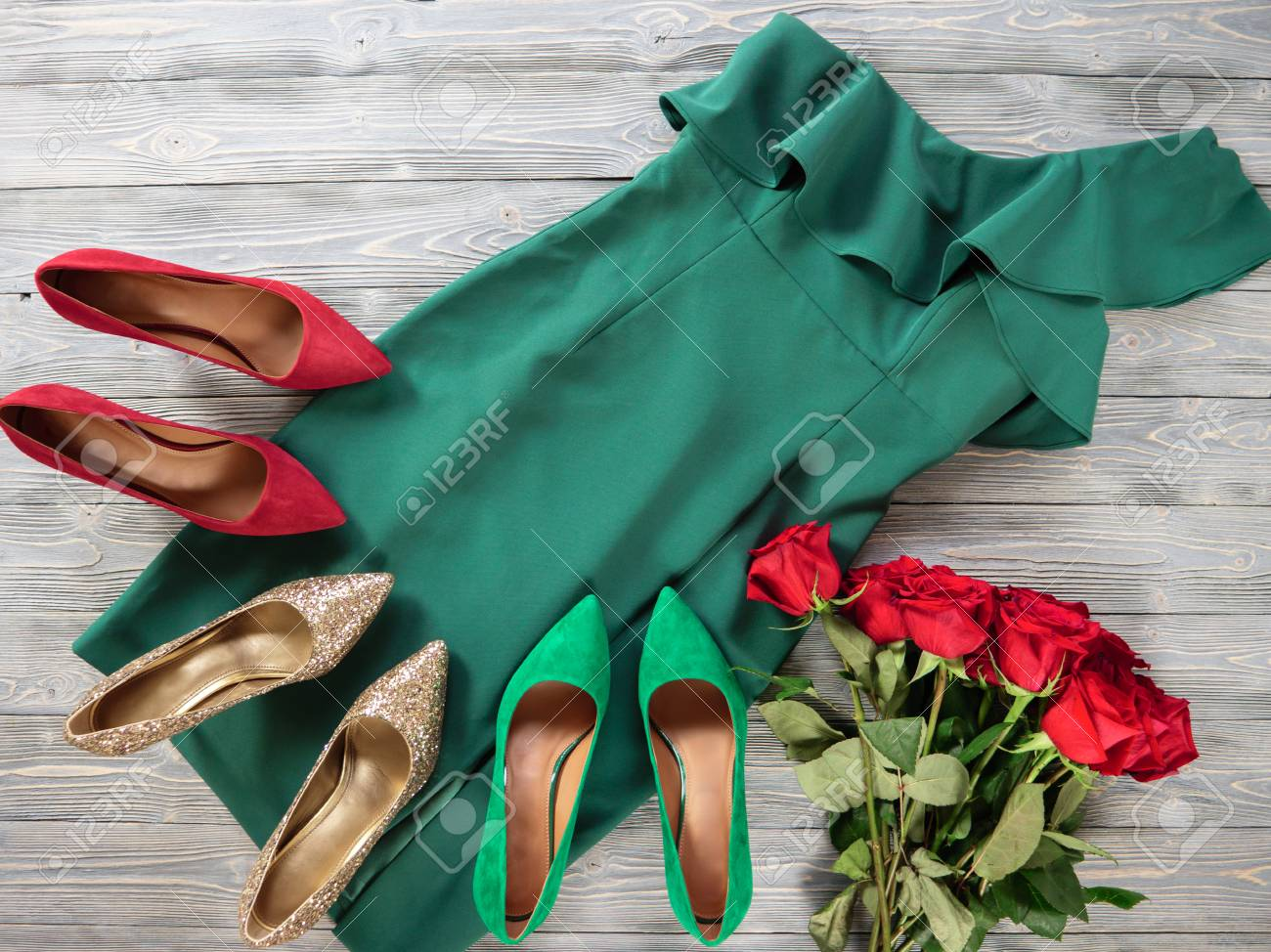 4406668055e Womens clothes and shoes (Red green dress, pumps). Fashion outfit..