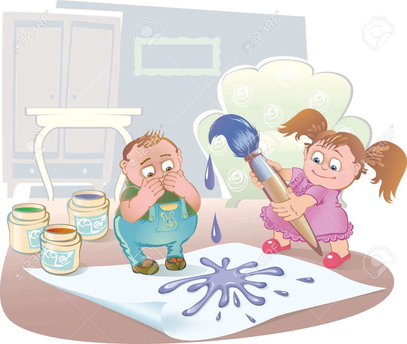 kids alone at home playing with paint and brush Stock Vector - 9534109