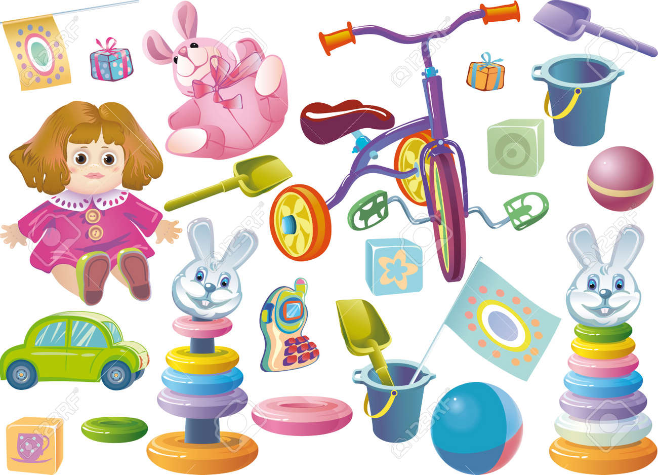Set of children's toys for younger age. Stock Vector - 9534069