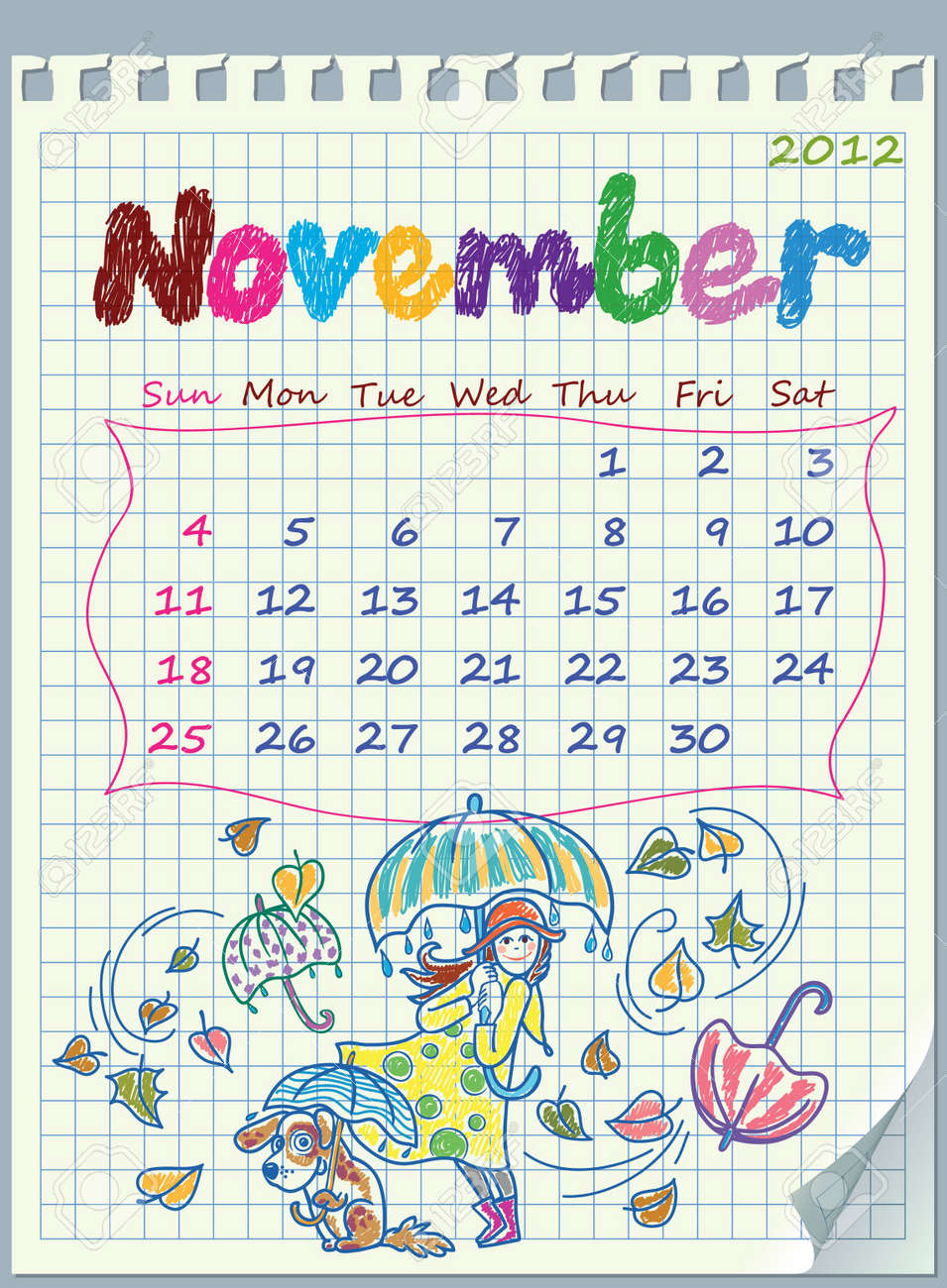 Calendar for November 2012. The week starts with Sunday. The numbers drawn on detached exercise book in a cage. Illustration of rainy weather. Stock Vector - 10951960