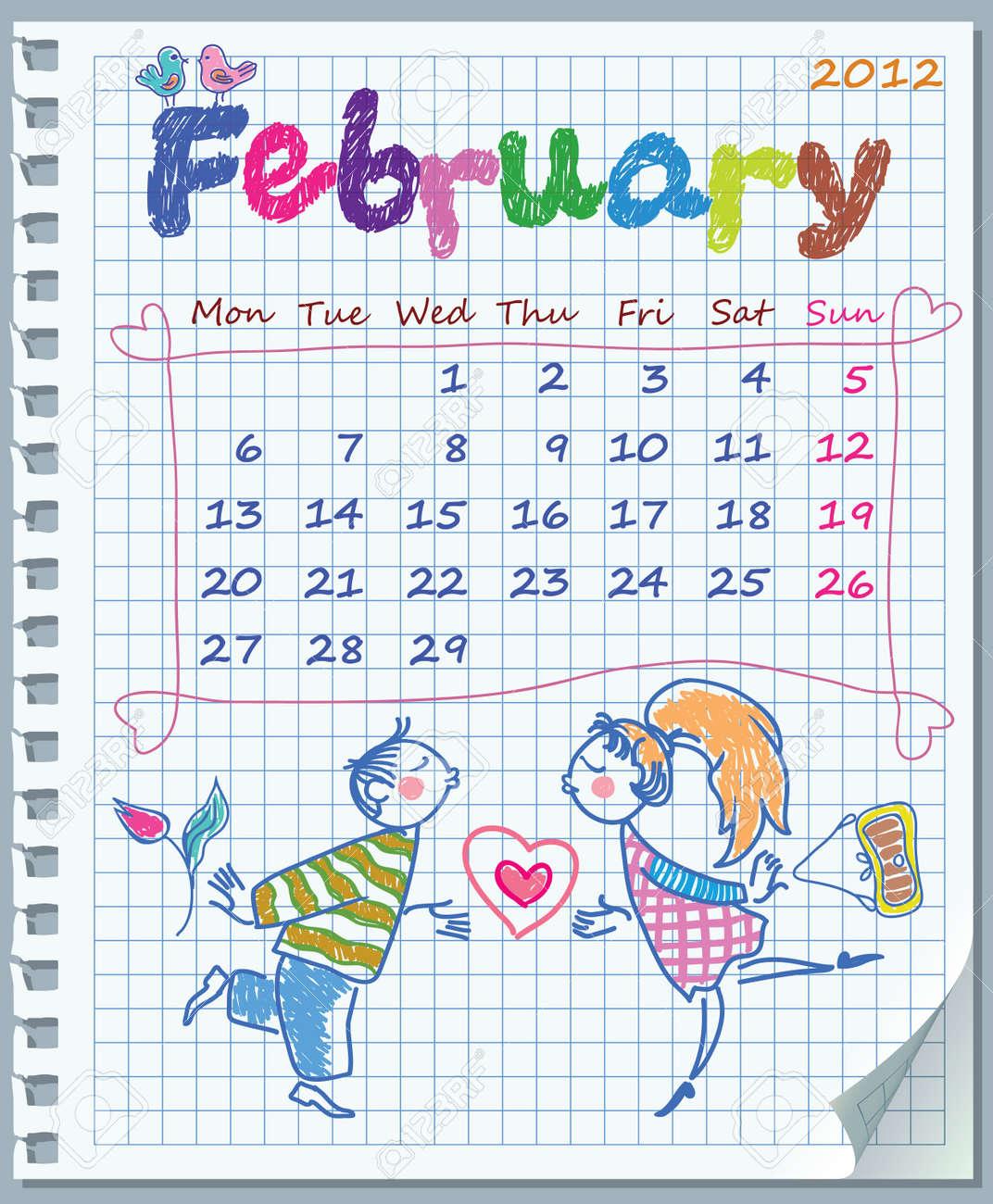 February Valentine Calendar Calendar For February 2012