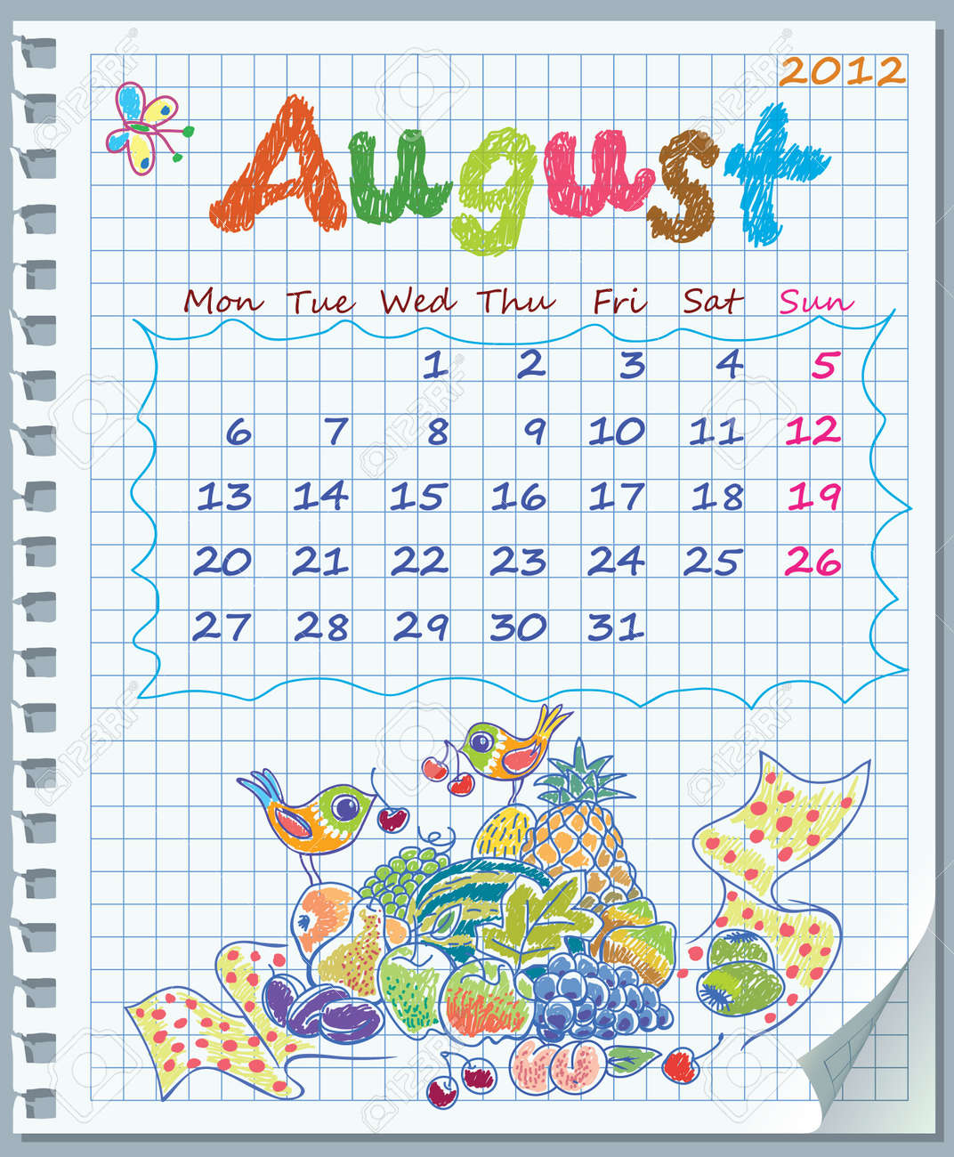 Calendar for August 2012. Week starts on Monday. Leaf torn from a notebook into a cell. Exercise book in a cage. Illustration of fruit yield. Stock Vector - 11072906