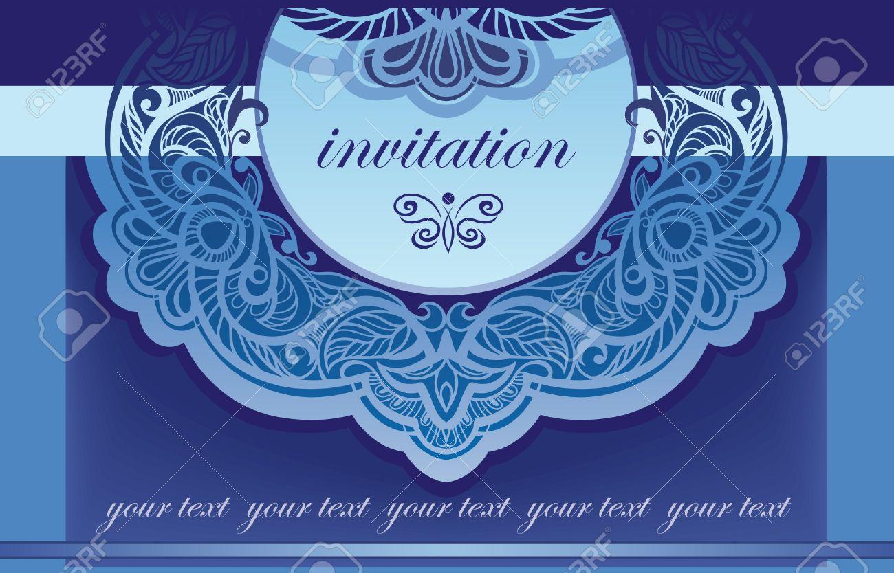 Invitación En El Vector De Fondo Azul Para La Cubierta De La Calada