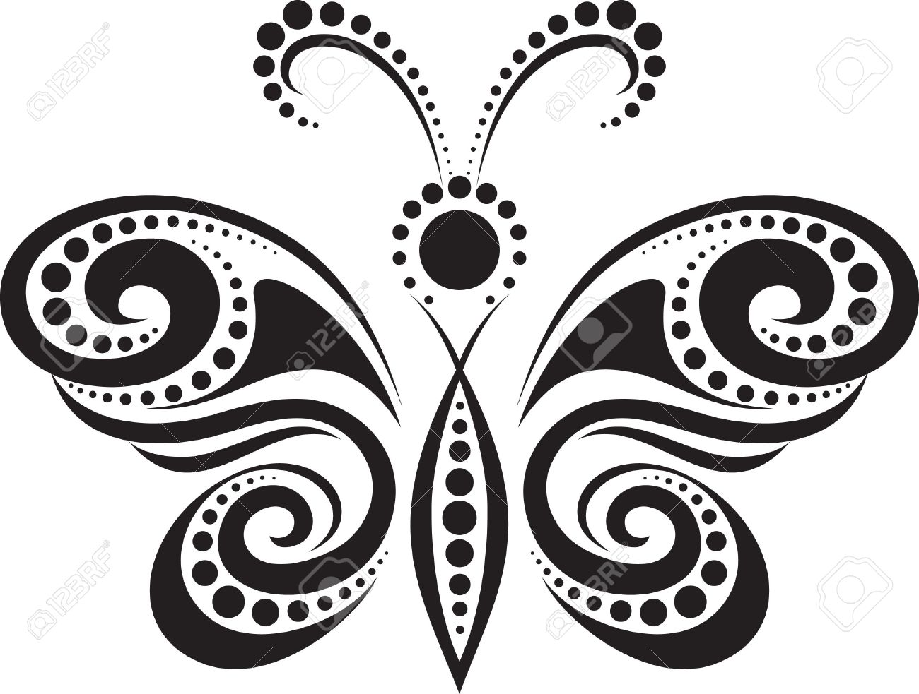 silhouette of a butterfly from the lines and points royalty free