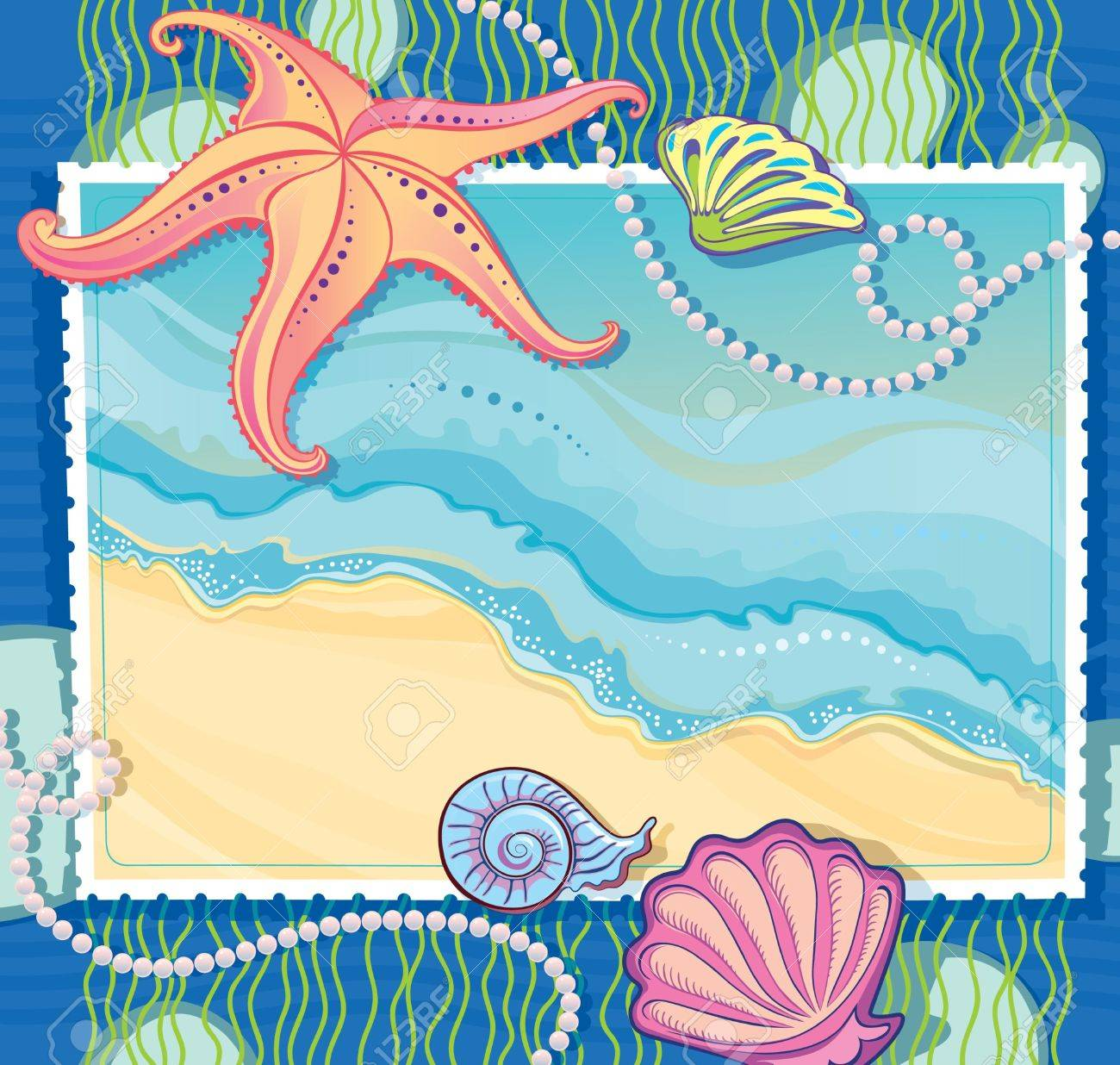 vector frame with a picture of a sea wave making of the starfish